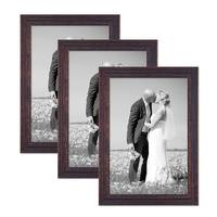 Vintage Bilderrahmen 3er Set 30x42 cm / DIN A3 Holz Dunkelbraun Shabby-Chic