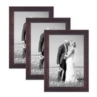 3er Set Vintage Bilderrahmen 30x45 cm Holz Dunkelbraun Shabby-Chic Massivholz mit Glasscheibe und Zubehör / Fotorahmen / Nostalgierahmen  – Bild 1