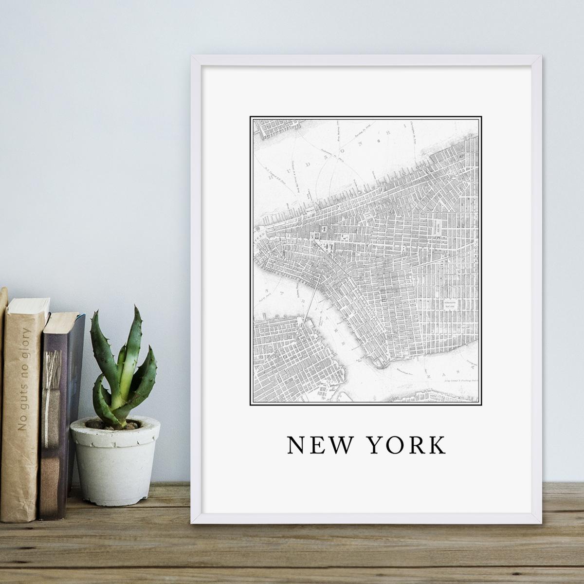 Poster mit Bilderrahmen Weiss \'New York Karte\' 30x40 cm schwarz ...