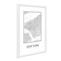 Poster mit Bilderrahmen Weiss 'New York Karte' 30x40 cm schwarz-weiss Motiv Landkarte Stadtkarte Map – Bild 2