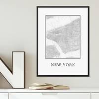 Poster mit Bilderrahmen Schwarz New York Karte 30x40 cm schwarz-weiss Motiv Landkarte Stadtkarte Map