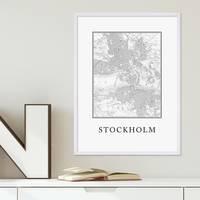 Poster mit Bilderrahmen Weiss Stockholm Karte 30x40 cm schwarz-weiss Motiv Landkarte Stadtkarte Map