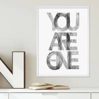 Design-Poster 'You are the One' 30x40 cm schwarz-weiss Motiv Typographie Spruch Modern – Bild 3