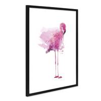 Poster mit Bilderrahmen Schwarz 'Flamingo' 40x50 cm Motiv Vogel Pink Aquarell – Bild 1