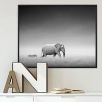Poster mit Bilderrahmen Schwarz 'Elefant' 40x50 cm schwarz-weiss Motiv Natur Landschaft Afrika Foto – Bild 2