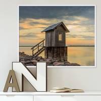 Poster 'Hütte' 40x50 cm Motiv Natur Landschaft Foto Sonnenuntergang – Bild 2