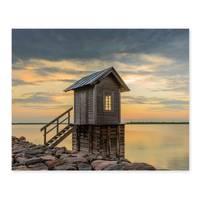 Poster 'Hütte' 40x50 cm Motiv Natur Landschaft Foto Sonnenuntergang