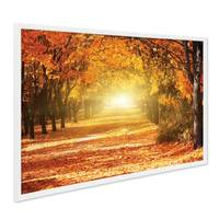 Poster mit Bilderrahmen Weiss 'Herbst' 40x50 cm Motiv Herbstwald Natur Landschaft Foto Sonnenuntergang – Bild 1