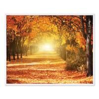 Poster mit Bilderrahmen Weiss 'Herbst' 40x50 cm Motiv Herbstwald Natur Landschaft Foto Sonnenuntergang – Bild 3