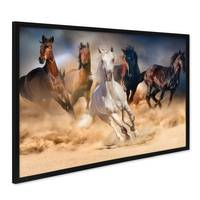 Poster mit Bilderrahmen Schwarz Pferde 40x50 cm Motiv Natur Wild Pferdeherde Foto