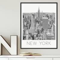 Poster mit Bilderrahmen Schwarz New York 40x50 cm schwarz-weiss Motiv Zeichnung Manhatten Skyline