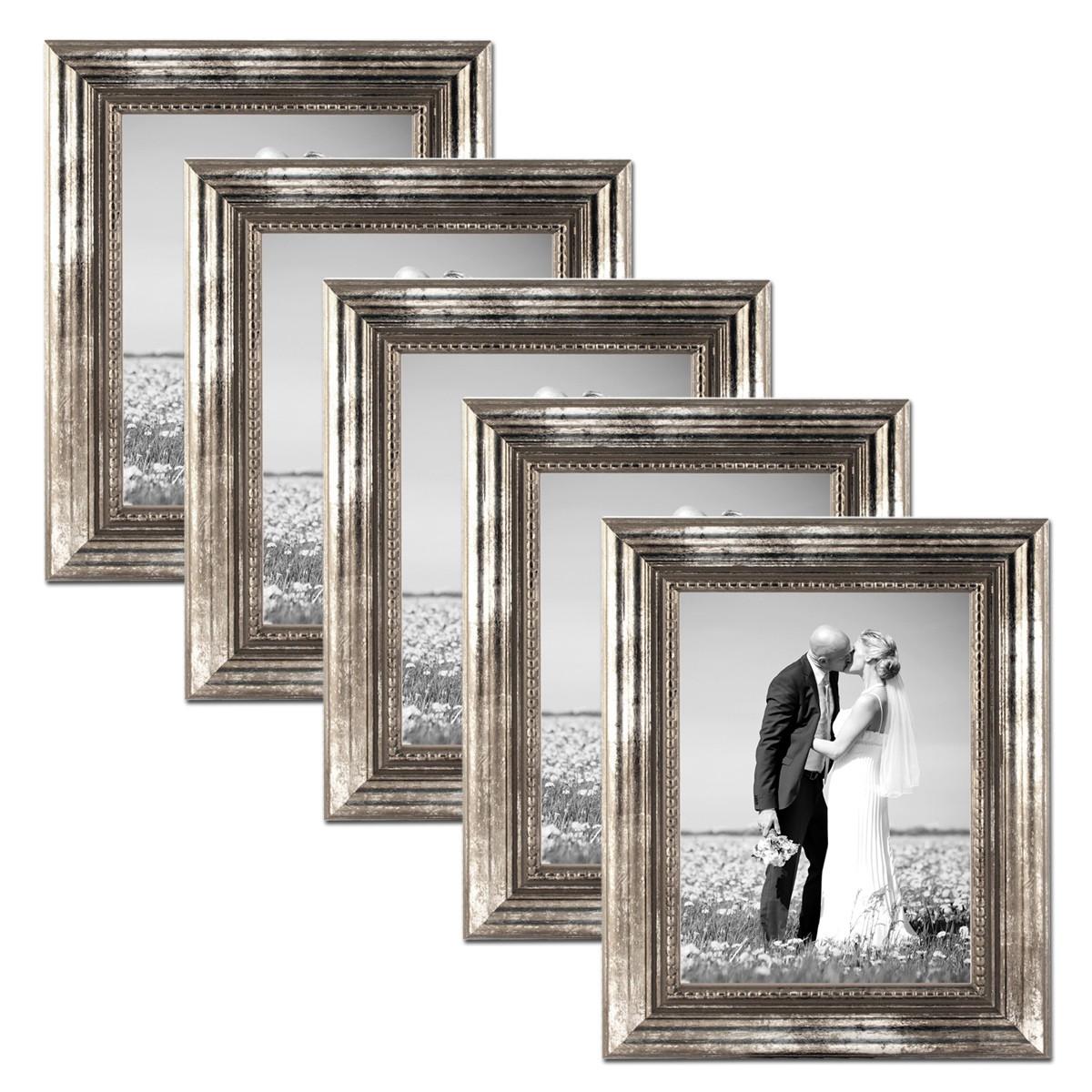 5er set bilderrahmen 10x15 cm silber barock antik massivholz mit