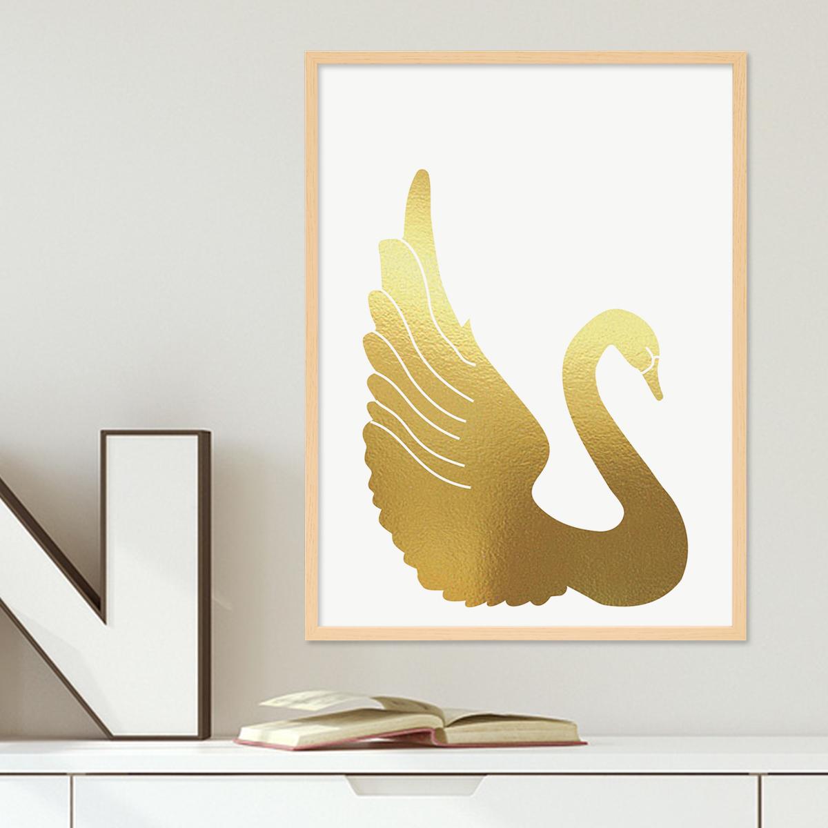 Design-Poster mit Bilderrahmen Natur \'Goldener Schwan\' 30x40 cm ...