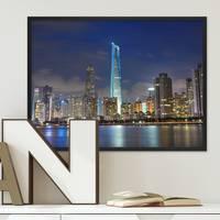 Poster mit Bilderrahmen Schwarz 'Shanghai' 30x40 cm Motiv Stadtbild Skyline Foto China
