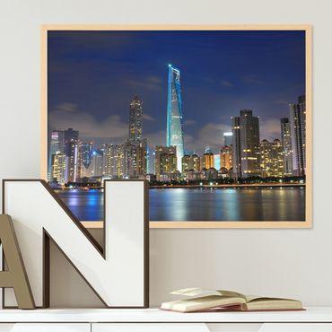 Poster mit Bilderrahmen Natur 'Shanghai' 30x40 cm Motiv Stadtbild Skyline Foto China