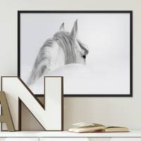 Design-Poster mit Bilderrahmen Schwarz 'Pferd' 30x40 cm schwarz-weiss Motiv Pferdekopf Zeichnung – Bild 2