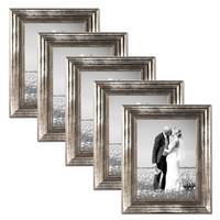 5er Set Bilderrahmen 15x20 cm Silber Barock Antik Massivholz mit Glasscheibe und Zubehör / Fotorahmen / Barock-Rahmen