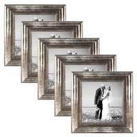 5er Set Bilderrahmen 20x20 cm Silber Barock Antik Massivholz mit Glasscheibe und Zubehör / Fotorahmen / Barock-Rahmen  – Bild 1