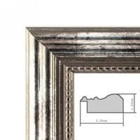 5er Set Bilderrahmen 20x20 cm Silber Barock Antik Massivholz mit Glasscheibe und Zubehör / Fotorahmen / Barock-Rahmen  – Bild 2