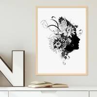 Design-Poster mit Bilderrahmen Natur 'Frau Abstrakt' 30x40 cm schwarz-weiss Motiv Mode Fashion – Bild 3