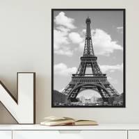 Poster mit Bilderrahmen Schwarz 'Eiffelturm' 30x40 cm schwarz-weiss Motiv Foto Paris Skyline