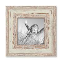 Vintage Bilderrahmen 10x10 cm Weiss Shabby-Chic Massivholz mit Glasscheibe und Zubehör / Fotorahmen / Nostalgierahmen  – Bild 1