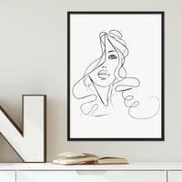 Design-Poster mit Bilderrahmen Schwarz 'Girl' 30x40 cm schwarz-weiss Motiv Mädchen Zeichnung