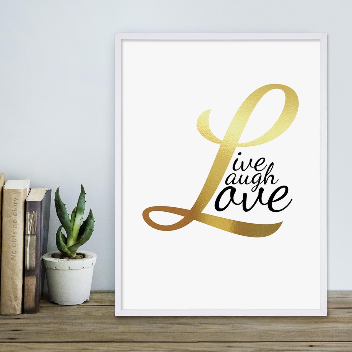 design poster mit bilderrahmen weiss 39 love gold 39 30x40 cm typographie goldaufdruck spruch liebe. Black Bedroom Furniture Sets. Home Design Ideas