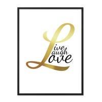 Design-Poster mit Bilderrahmen Schwarz 'Love Gold' 30x40 cm Typographie Goldaufdruck Spruch Liebe