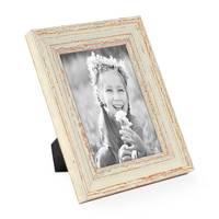 Vintage Bilderrahmen 15x20 cm Weiss Shabby-Chic Massivholz mit Glasscheibe und Zubehör / Fotorahmen / Nostalgierahmen