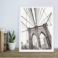 Poster mit Bilderrahmen Weiss 'Bridge' 30x40 cm schwarz-weiss Motiv Brücke Zeichnung – Bild 3