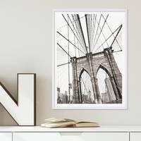 Poster mit Bilderrahmen Weiss 'Bridge' 30x40 cm schwarz-weiss Motiv Brücke Zeichnung – Bild 1
