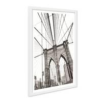 Poster mit Bilderrahmen Weiss 'Bridge' 30x40 cm schwarz-weiss Motiv Brücke Zeichnung – Bild 2