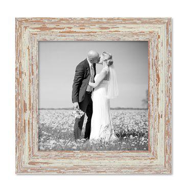 Bilderrahmen 20x20 cm Weiss Shabby-Chic Vintage Massivholz mit Glasscheibe und Zubehör / Fotorahmen / Nostalgierahmen