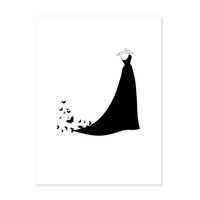 Design-Poster 'Dress' 30x40 cm schwarz-weiss Motiv Kleid Mode Fashion