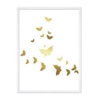 Design-Poster mit Bilderrahmen Weiss 'Butterflies Gold' 30x40 cm Goldaufdruck Motiv Schmetterlinge – Bild 4
