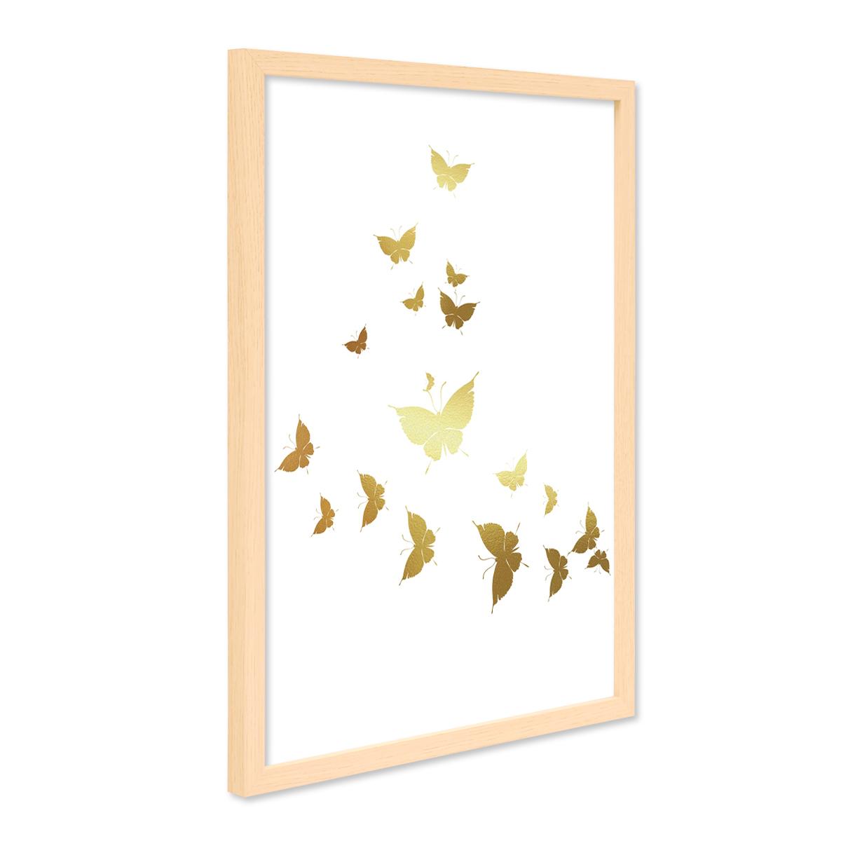 Design-Poster mit Bilderrahmen Natur \'Butterflies Gold\' 30x40 cm ...