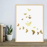 Design-Poster mit Bilderrahmen Natur 'Butterflies Gold' 30x40 cm Goldaufdruck Motiv Schmetterlinge