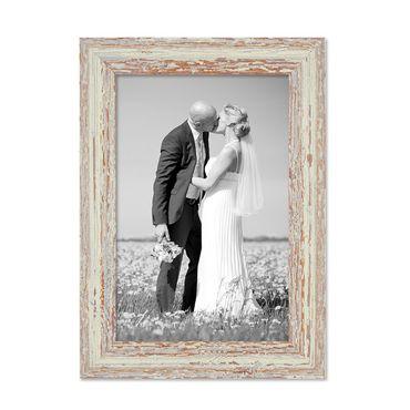 Bilderrahmen 21x30 cm / DIN A4 Weiss Shabby-Chic Vintage Massivholz mit Glasscheibe und Zubehör / Fotorahmen / Nostalgierahmen