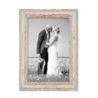 Bilderrahmen 21x30 cm / DIN A4 Weiss Shabby-Chic Vintage Massivholz mit Glasscheibe und Zubehör / Fotorahmen / Nostalgierahmen  – Bild 1