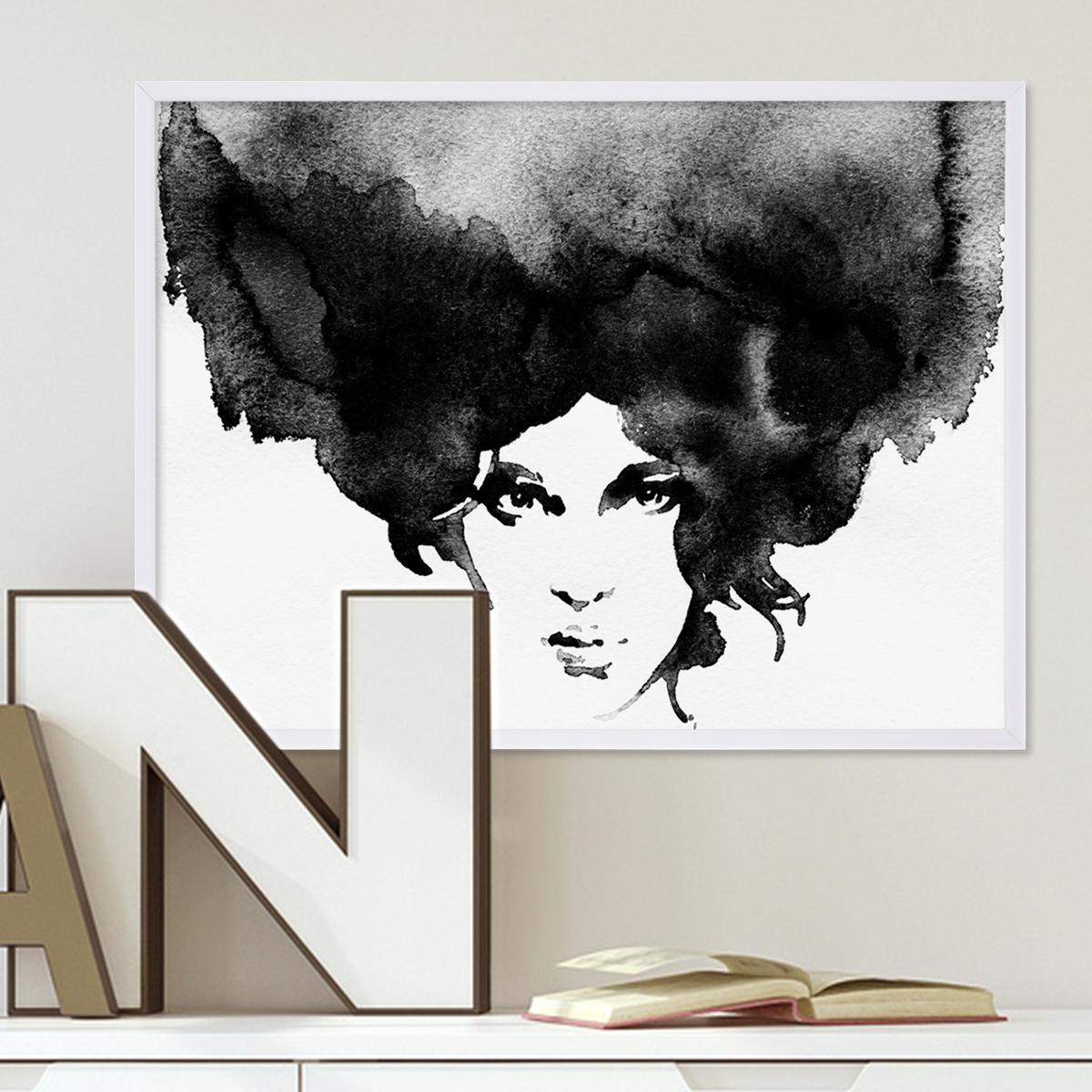 design poster 39 frauenkopf 39 30x40 cm schwarz weiss motiv frau aquarell poster design motive. Black Bedroom Furniture Sets. Home Design Ideas