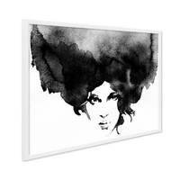 Design-Poster mit Bilderrahmen Weiss 'Frauenkopf' 30x40 cm schwarz-weiss Motiv Frau Aquarell