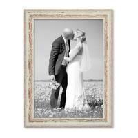 Bilderrahmen 30x40 cm Weiss Shabby-Chic Vintage Massivholz mit Glasscheibe und Zubehör / Fotorahmen / Nostalgierahmen – Bild 4