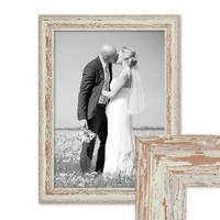 Vintage Bilderrahmen 30x40 cm Weiss Shabby-Chic Massivholz mit Glasscheibe und Zubehör / Fotorahmen / Nostalgierahmen