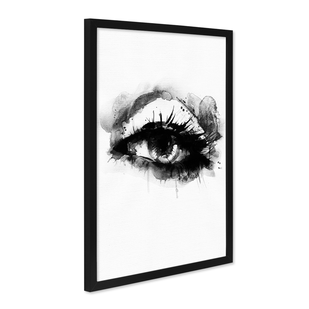 design poster mit bilderrahmen schwarz 39 auge 39 30x40 cm schwarz weiss motiv aquarell frauenauge. Black Bedroom Furniture Sets. Home Design Ideas