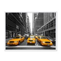 Poster mit Bilderrahmen Weiss 'Taxi' 30x40 cm Motiv Stadtbild New York City Foto Modern – Bild 4