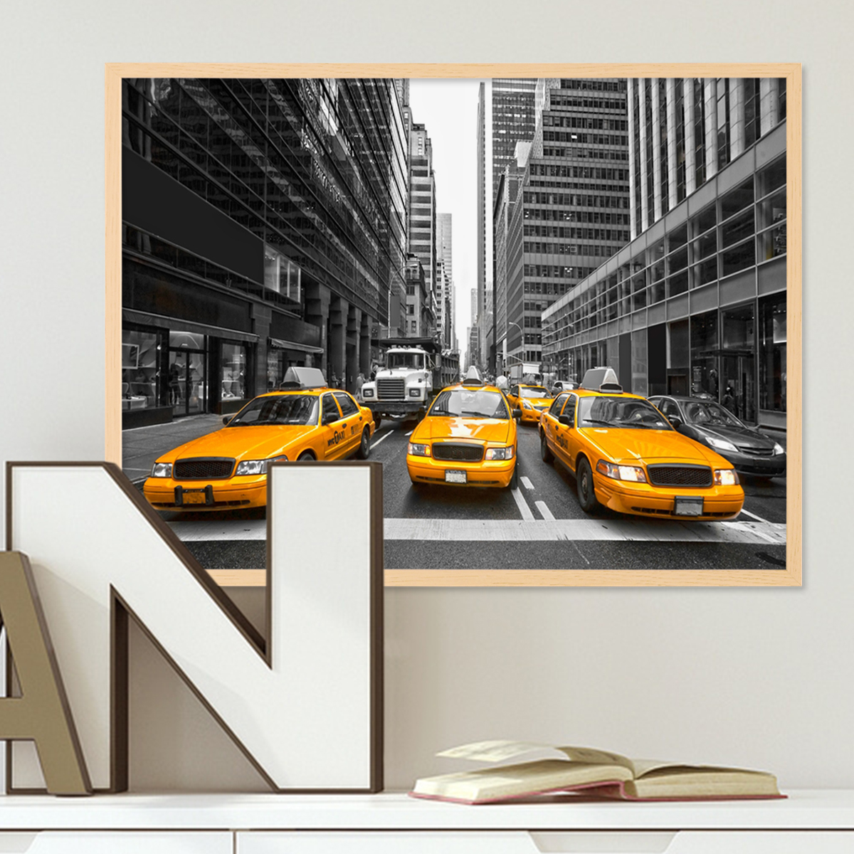 Poster mit Bilderrahmen Natur \'Taxi\' 30x40 cm Motiv Stadtbild New ...