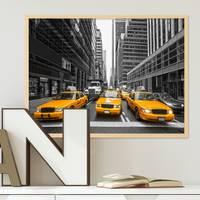 Poster mit Bilderrahmen Natur 'Taxi' 30x40 cm Motiv Stadtbild New York City Foto Modern