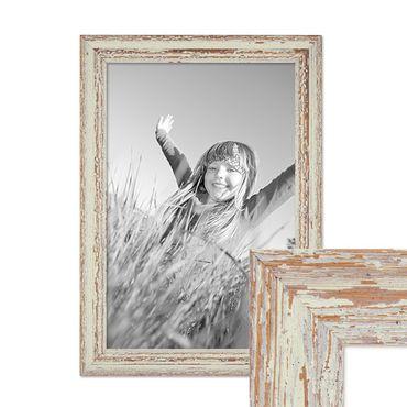 Vintage Bilderrahmen 30x45 cm Weiss Shabby-Chic Massivholz mit Glasscheibe und Zubehör / Fotorahmen / Nostalgierahmen