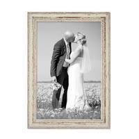 Vintage Bilderrahmen 30x45 cm Weiss Shabby-Chic Massivholz mit Glasscheibe und Zubehör / Fotorahmen / Nostalgierahmen  – Bild 4